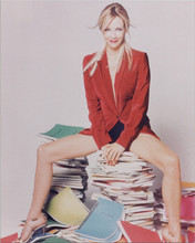 Heather Locklear sexy leggy pose sitting on Spin City scripts 8x10 photo