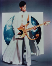 Prince 8x10 photo 1980's full length pose in white playing guitar