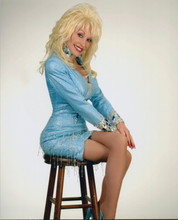 Dolly Parton 8x10 leggy pose seated on stool in sequined dress 8x10 photo