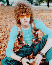 David Bowie classic 1970's pose with glasses sitting in leaves 8x10 photo