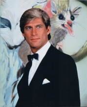 Manimal 1983 TV series Simon MacCorkindale poses against animal backdrop 8x10