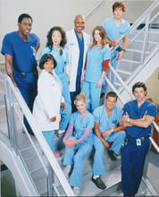 Grey's Anatomy TV series 8x10 publicity photo complete cast line-up on staircase