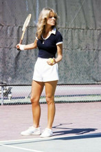 Farrah Fawcett full length pose on tennis court 4x6 inch photo