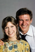 Carrie Fisher Harrison Ford circa 1980 smiling pose 4x6 inch photo