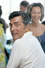 Dean Martin circa 1967 in white casual shirt on movie set 4x6 inch photo