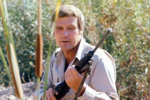 Lee Majors holds rifle as The Six Million Dollar Man 4x6 inch photo