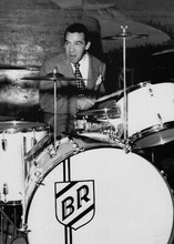Buddy Rich playing on his drums in concert 5x7 inch press photo