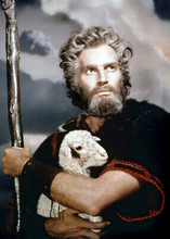 Charlton Heston as Moses The Ten Commandments holding lamb 5x7 inch photograph