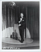 Frank Sinatra full length pose on stage in tuxedo holding microphone 8x10 photo