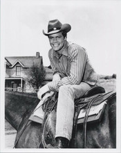 Doug McClure sits on his horse by Shiloh Ranch The Virginian TV 8x10 photo