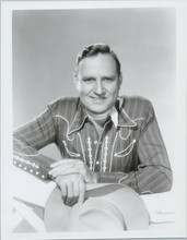 Gene Autry classic smiling portrait in western shirt holding hat 8x10 photo