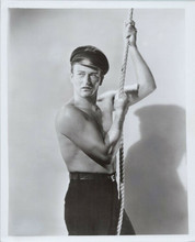 John Wayne bare chested beefcake pose holding rope 8x10 photo