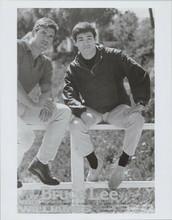 The Green Hornet TV stars Bruce Lee & Van Williams pose on fence 8x10 photo