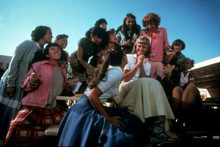 Grease Olivia Newton-John sits on table with girls 5x7 inch photo