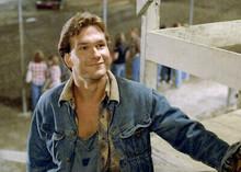 Patrick Swayze smiling pose in denim jacket 5x7 inch photograph