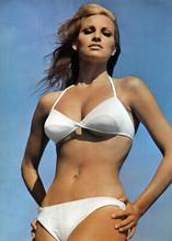 Raquel Welch a stunning pose in white bikini 1967 hands on hips 5x7 inch photo