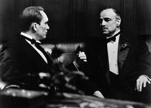 The Godfather 5x7 inch real photo Robert Duvall advises Marlon Brando in scene