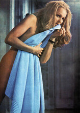Ursula Andress naked holding towel Perfect Friday movie 5x7 inch publicity photo