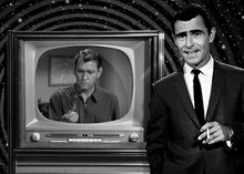 Twilight Zone Rod Serling introduces episode with TV behind him 5x7 photograph