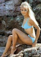 Yutte Stensgaard 1970 pin-up in blue bikini on rocky beach 5x7 inch press photo