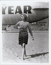 Barbara Bain barefoot on beach by Goodyear blimp Mission Impossible 8x10 photo