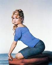 BRIGITTE BARDOT SEXY 8X10 COLOR PHOTO ON FLOOR
