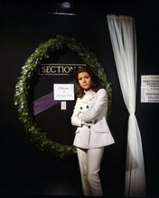 Diana Rigg outside Section 7 door as Emma Peel The Avengers TV series 8x10 photo
