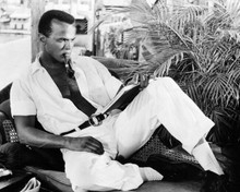 Harry Belafonte cool pose lying on sofa smoking a pipe 8x10 photo
