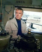 George Peppard as Banacek wears safari jacket inside warehouse 8x10 photo