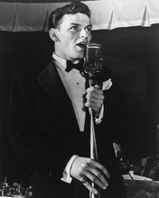 FRANK SINATRA B&W 8X10 PHOTO VERY YOUNG AT MICROPHONE