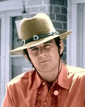 Lancer TV western series James Stacy portrait in red shirt and hat 8x10 photo