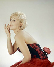 Kim Novak wears low cut red corset and dress 8x10 photo