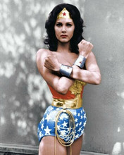 Lynda Carter as TV's Wonder Woman stands in iconic pose 8x10 photo