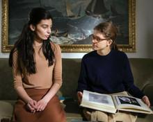 My Brilliant Friend TV series Gaia Girace Margerita Mazzucco sit together 8x10