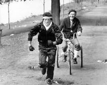 Rocky III Sylvester Stallone runs Burgess Meredith on bike 8x10 photo