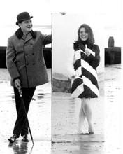 The Avengers TV series Patrick Macnee Diana Rigg on beach full length 8x10 photo