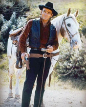 The Virginian TV series James Drury full length with his white horse 8x10 photo
