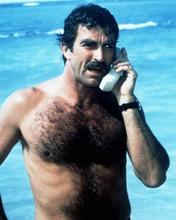 Tom Selleck beefcake pose talking on telephone in ocean Magnum 8x10 photo