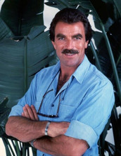 Tom Selleck debonair portrait in blue shirt as Thomas Magnum 8x10 photo