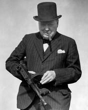 Winston Churchill puffing on his cigar holding machine gun great pose 8x10 photo