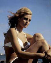 Raquel Welch iconic 1967 pin-up wearing white bikini on beach 8x10 inch photo