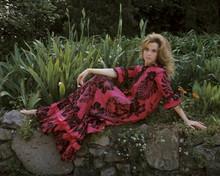 Jane Fonda 1967 8x10 inch photo in red dress posing full length on rock