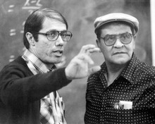 Stand and Deliver Edward James Olmos on set with real Jaime Escalante 8x10 photo