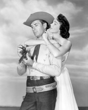 Slim Carter Jock Mahoney with gun Julia Adams embraces him 8x10 inch photo