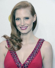 Jessica Chastain beautiful smiling portrait in low cut red dress 8x10 inch photo
