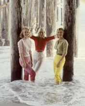 Yvette Mimieux poses on beach with two unidentified girls 8x10 inch photo