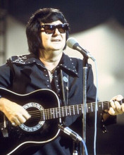 Roy Orbison The Big O in concert pose playing guitar dark glasses 8x10 photo