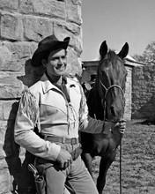 Clint Walker in fringed western jacket holding horse as Cheyenne 8x10 inch photo
