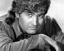 Fess Parker in buckskin jacket and racoon hat as Davy Crockett 8x10 inch photo