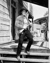 Clint Walker full length pose as Cheyenne Bodie holding rifle 8x10 inch photo